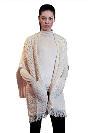 c898ebb687 100% Irish Merino Wool Ladies Pocket Shawl by West End Knitwear at Amazon  Women's Clothing store:
