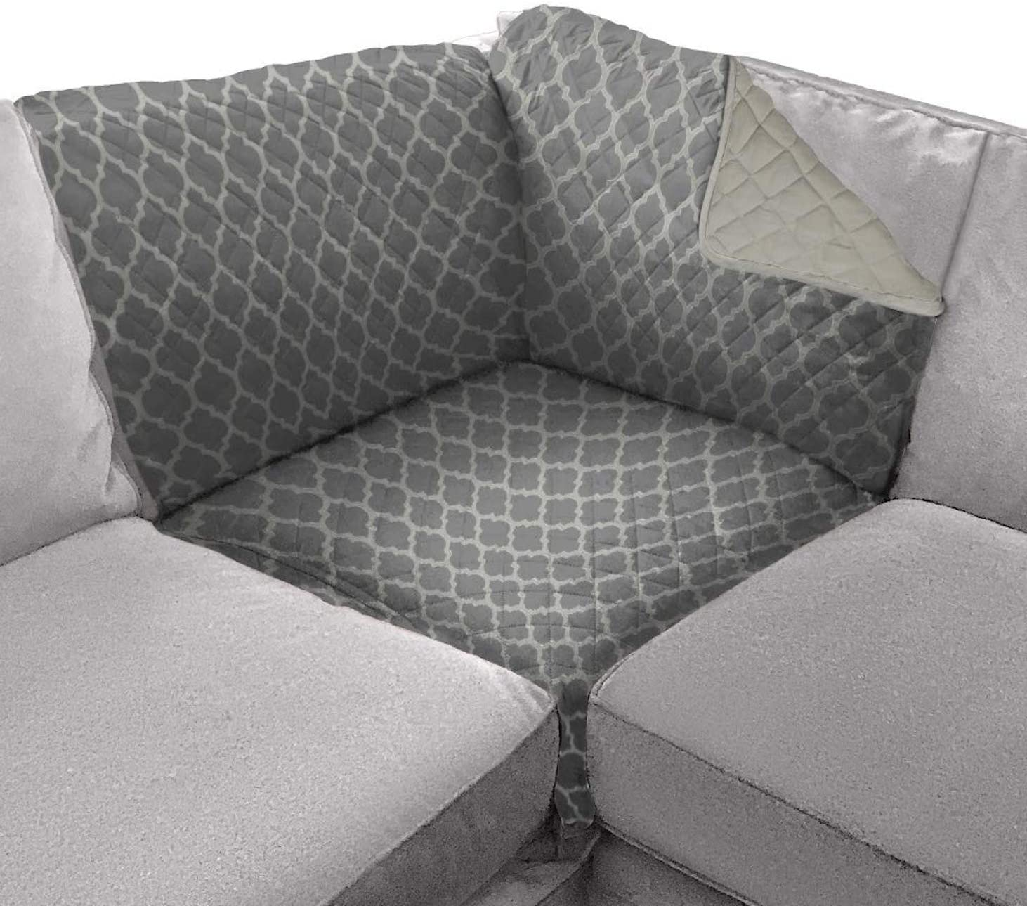 Sofa Shield Original Patent Pending Sofa Corner Sectional Slipcover, Many Colors, 30x30 Inch, Reversible Washable Furniture Protector with Straps, Sectional Slip Cover, Quatrefoil Charcoal Linen