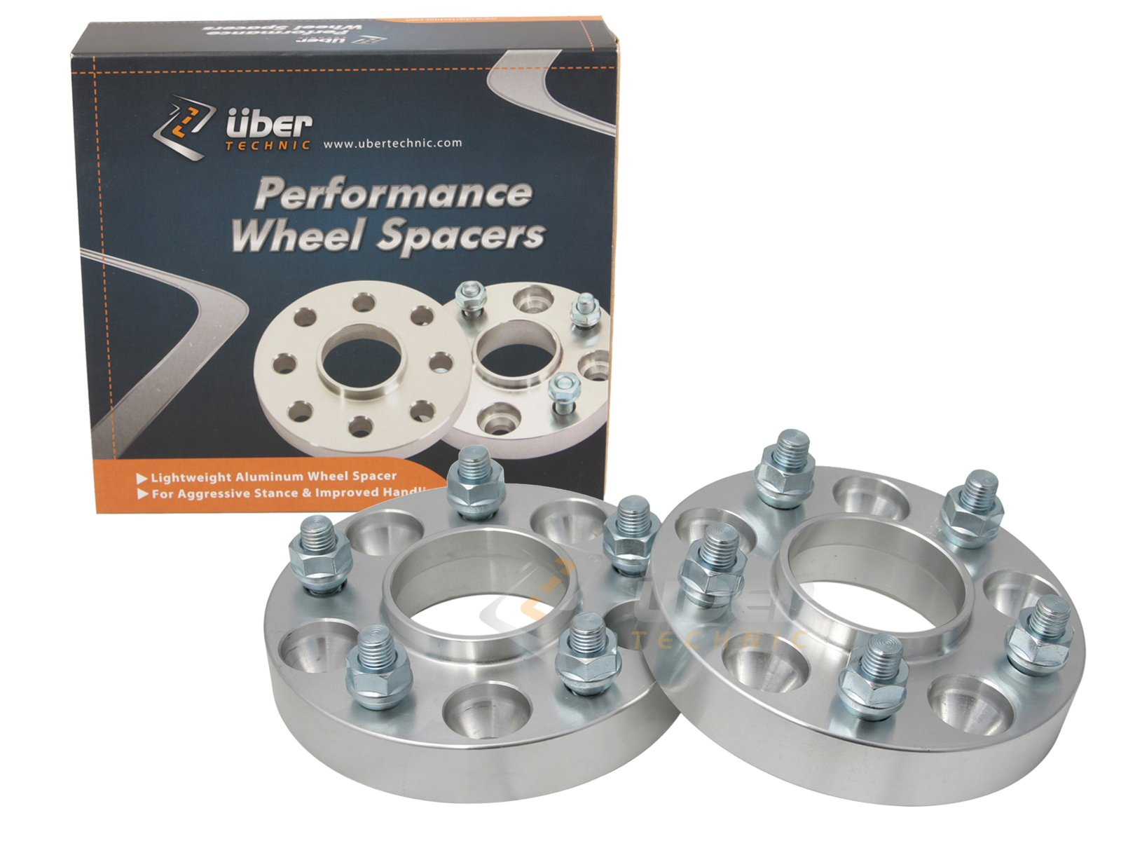 (2) 32mm (1.25'') 5x4.5 UberTechnic Hubcentric Wheel Spacers for Ford Lincoln for Mustang Edge Crown Victoria Bronco Ranger Explorer Town Car Mountaineer Aviator Edge Mark 7 (1/2'' Studs & 70.5mm bore)