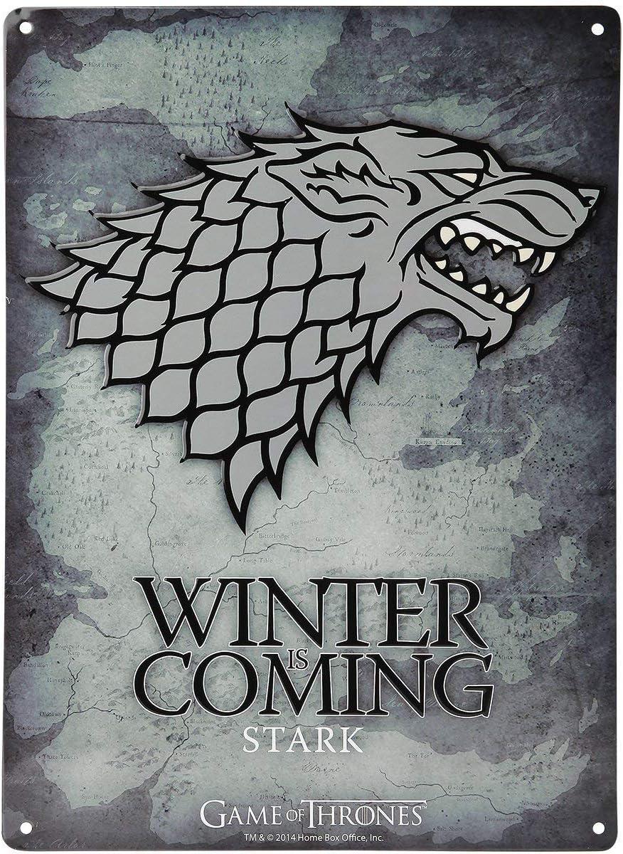 /Targa in Metallo/ /28/x 38/cm Game of Thrones/ /Stark Logo/ /Winter is Coming/