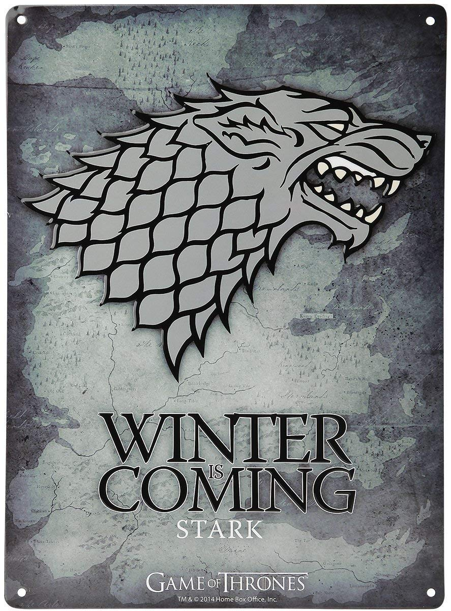 Game of Thrones – Stark Winter Is Coming Logo Tin Sign – 38 cm