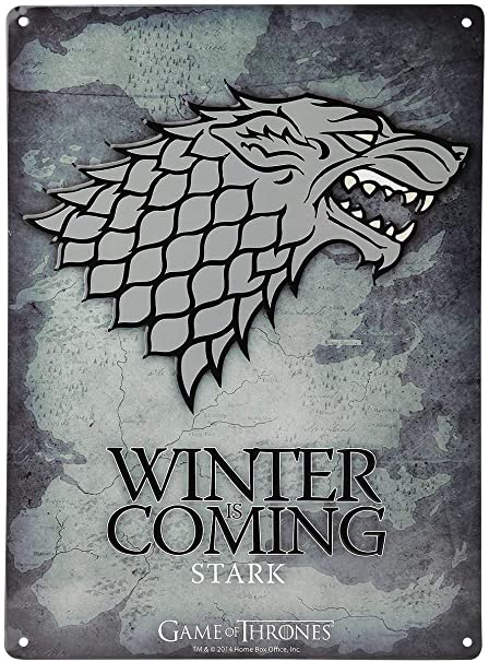 Game Of Thrones Stark Winter Is Coming Logo Tin Sign 38