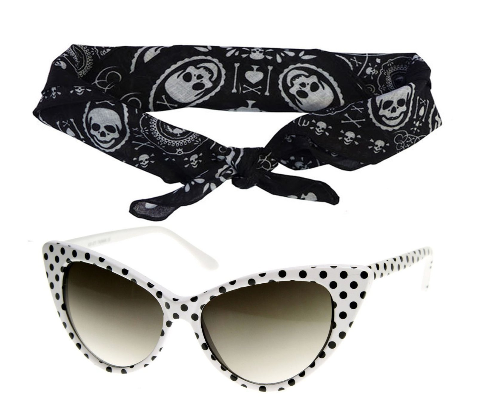 50s Polka Dot Cat Eye White Sunglasses Black Bandana Tie Headband Set