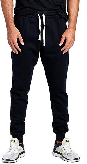 SELX Men Casual Jogger Sweatpants Sports Elastic Waist Zipper Pocket Pants