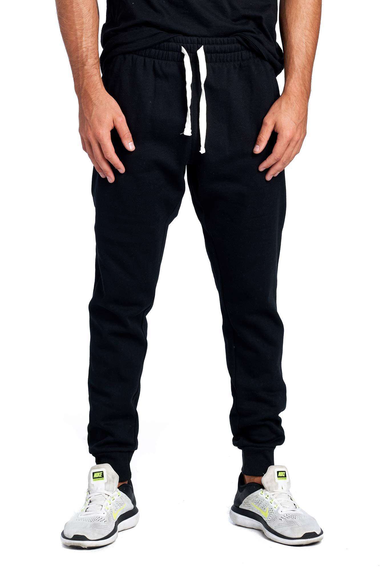 ProGo Men's Casual Jogger Sweatpants Basic Fleece Marled Jogger Pant Elastic Waist (XXX-Large, Black (Slanted Pocket)) by PROGO USA