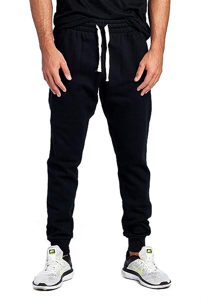 000e28f16 ProGo Men's Casual Jogger Sweatpants Basic Fleece Marled Jogger Pant  Elastic Waist (Small, Black