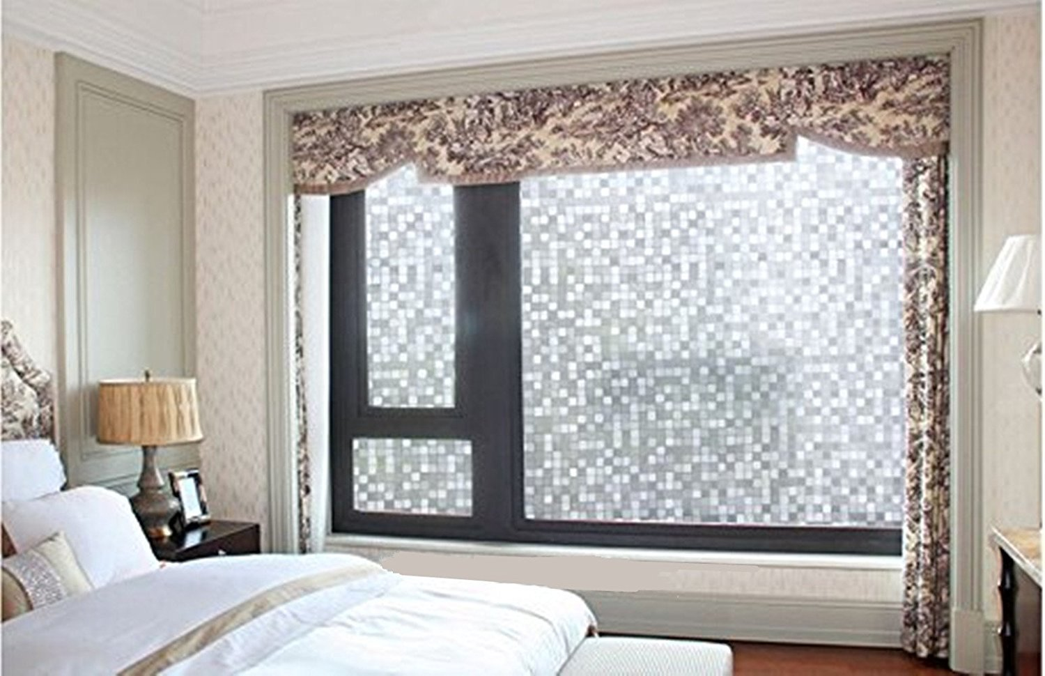 Coavas No Glue Window Cling Static Cling Decorative Frosted Privacy Window Glass Film Glass Heat Control Anti Uv for Bathroom Office Home Kitchen (17.7 by 78.7inch) Corner Love