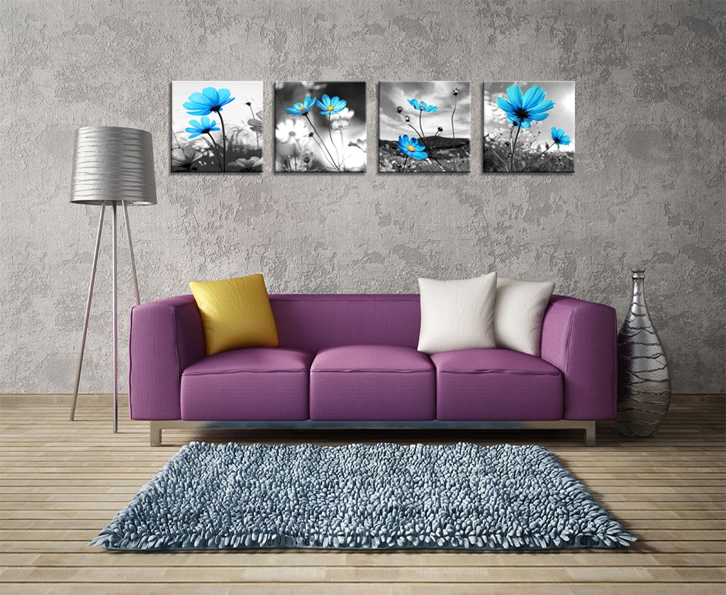 HLJ Arts Modern Salon Theme Black and White Peacock Blue Vase Flower Abstract Painting Still Life Canvas Wall Art for Home Decor 12x12inches 4pcs/set HLJ-H31