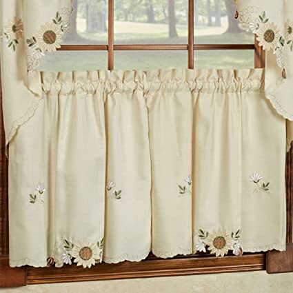 Beau Sunflower Cream Embroidered Kitchen Curtains   Tiers Valance Or Swag (24  Cafe/ Tier Curtains