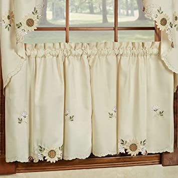 Sunflower Cream Embroidered Kitchen Curtains - Tiers Valance or Swag (24  Cafe/ Tier Curtains)