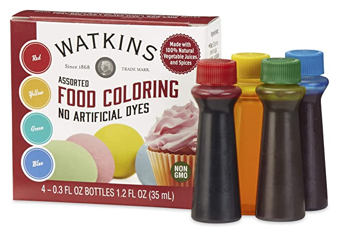 Amazon.com : Watkins Assorted Food Coloring, 1 Each Red, Yellow, Green,  Blue, Total Four .3 oz bottles : Grocery & Gourmet Food