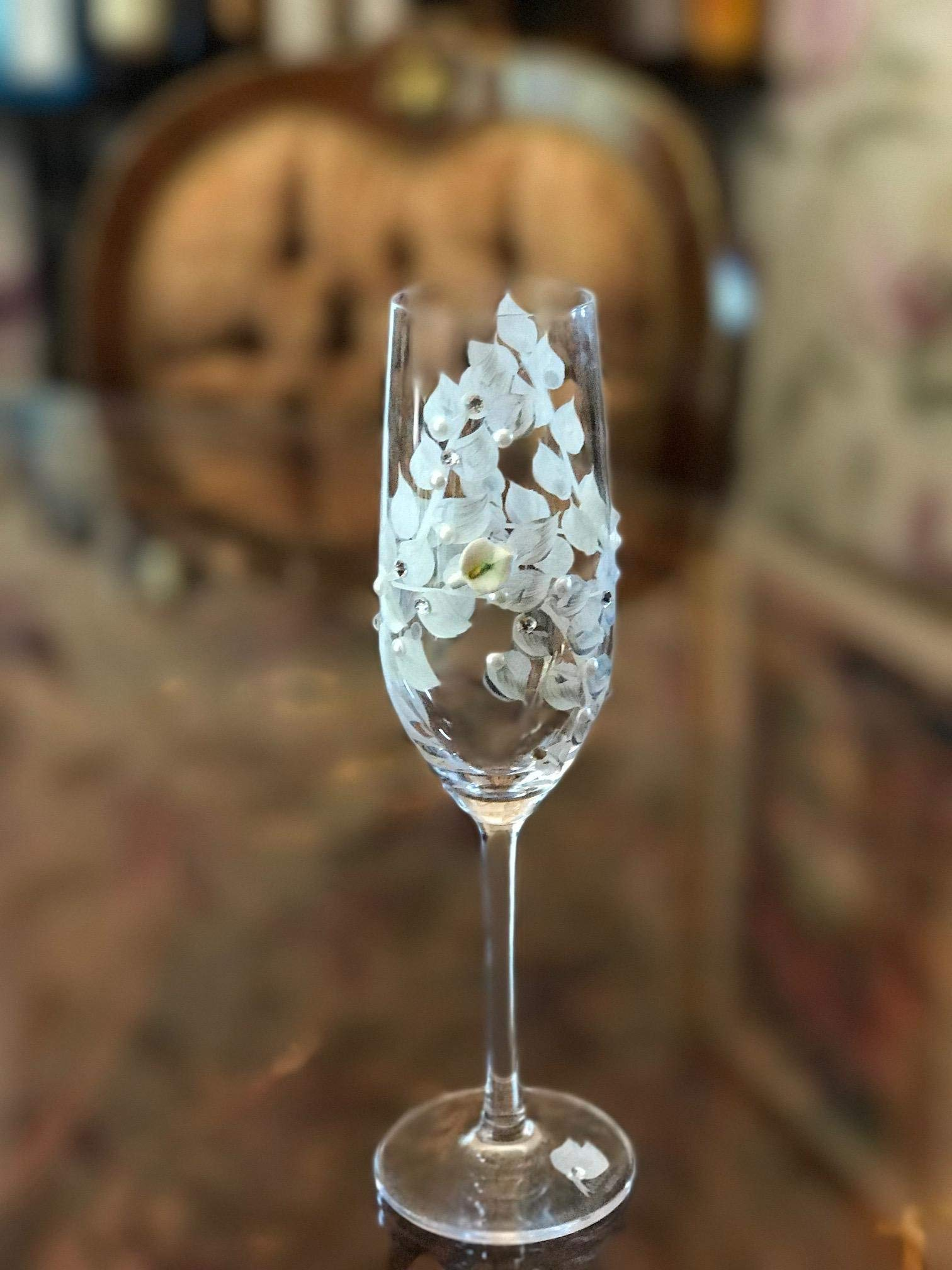 Wedding Toasting Flutes - Handpainted White Calla Lily Wedding Champagne Glasses, by Wedding Champagne Flutes