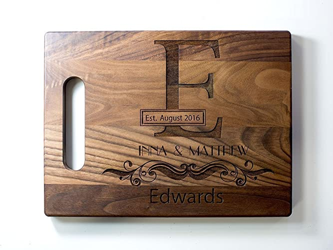 personalized engraved monogram cutting board wedding gift anniversary gift custom cutting board wood custom engraved wedding