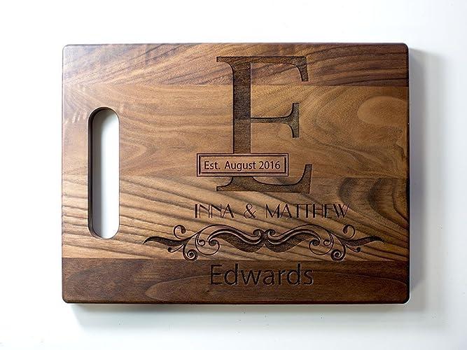 Amazon.com: Personalized Engraved Monogram Cutting Board Wedding ...