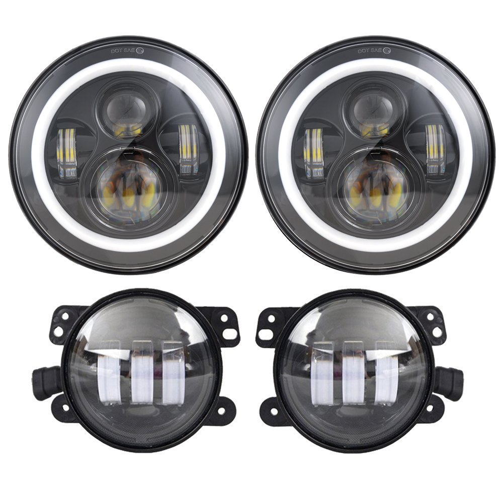 DOT Approved 7'' Black Cree LED Headlights and 4 '' LED Fog Lights for Jeep Wrangler 97-2017 JK TJ LJ CJ Hummber H1 H2 SPL LIGHT TP-SET-001