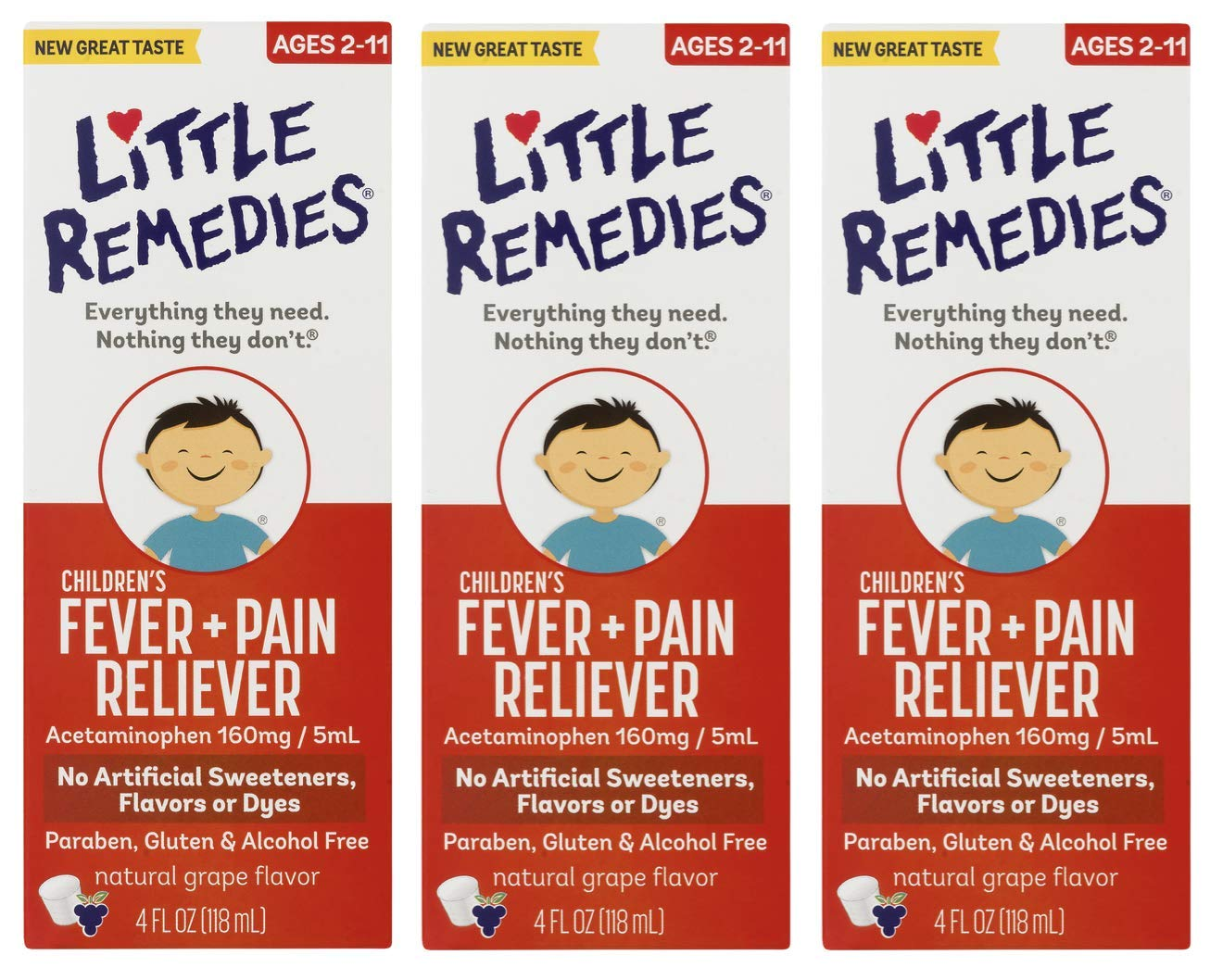 Little Remedies Children's Fever & Pain Reliever | Natural Grape Flavor | 4 FL OZ | 3 Pack by Little Remedies