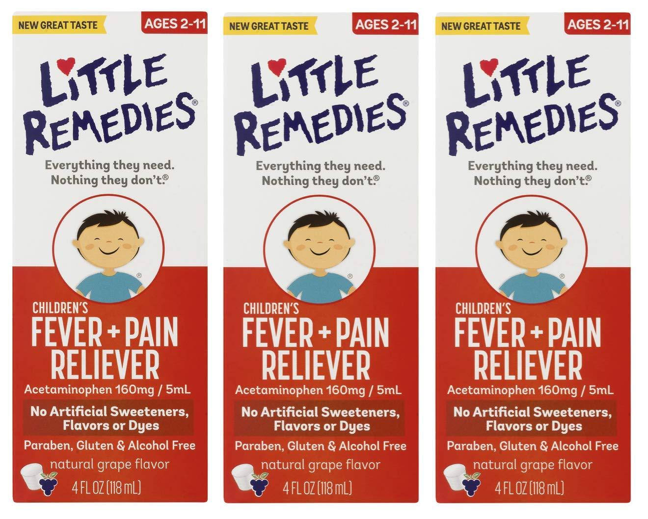 LittleRemedies Children's Fever & Pain Reliever withAcetaminophen  Grape   4 FL OZ   3 Pack