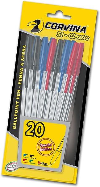 Corvina Classic - Blister 20 boligrafos, varias colores: Amazon.es: Oficina y papelería