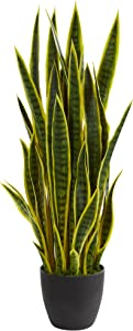 Nearly Natural 38 in. Sansevieria Artificial Silk Plants, Yellow