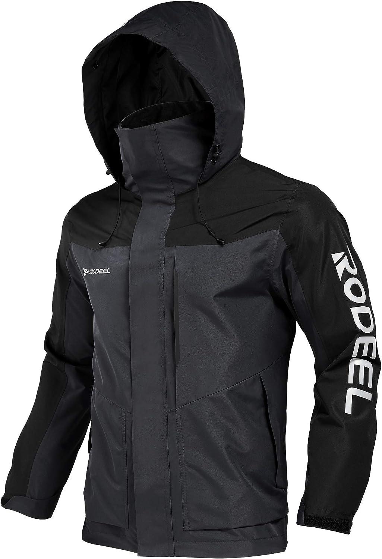 Rodeel Mens Lightweight Windbreaker Raincoat Water Resistant Jacket with Hood for Outdoor