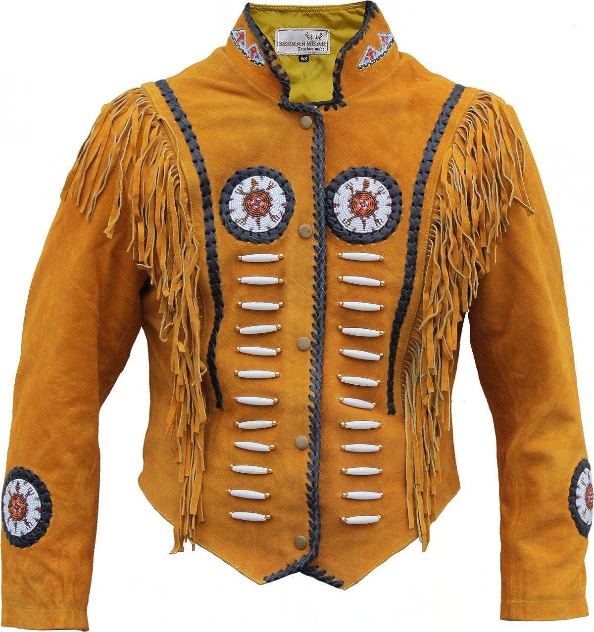 German Wear,Westernjacke Reiter Jacke Western-Lederjacke Indianer Tracht Schwarz