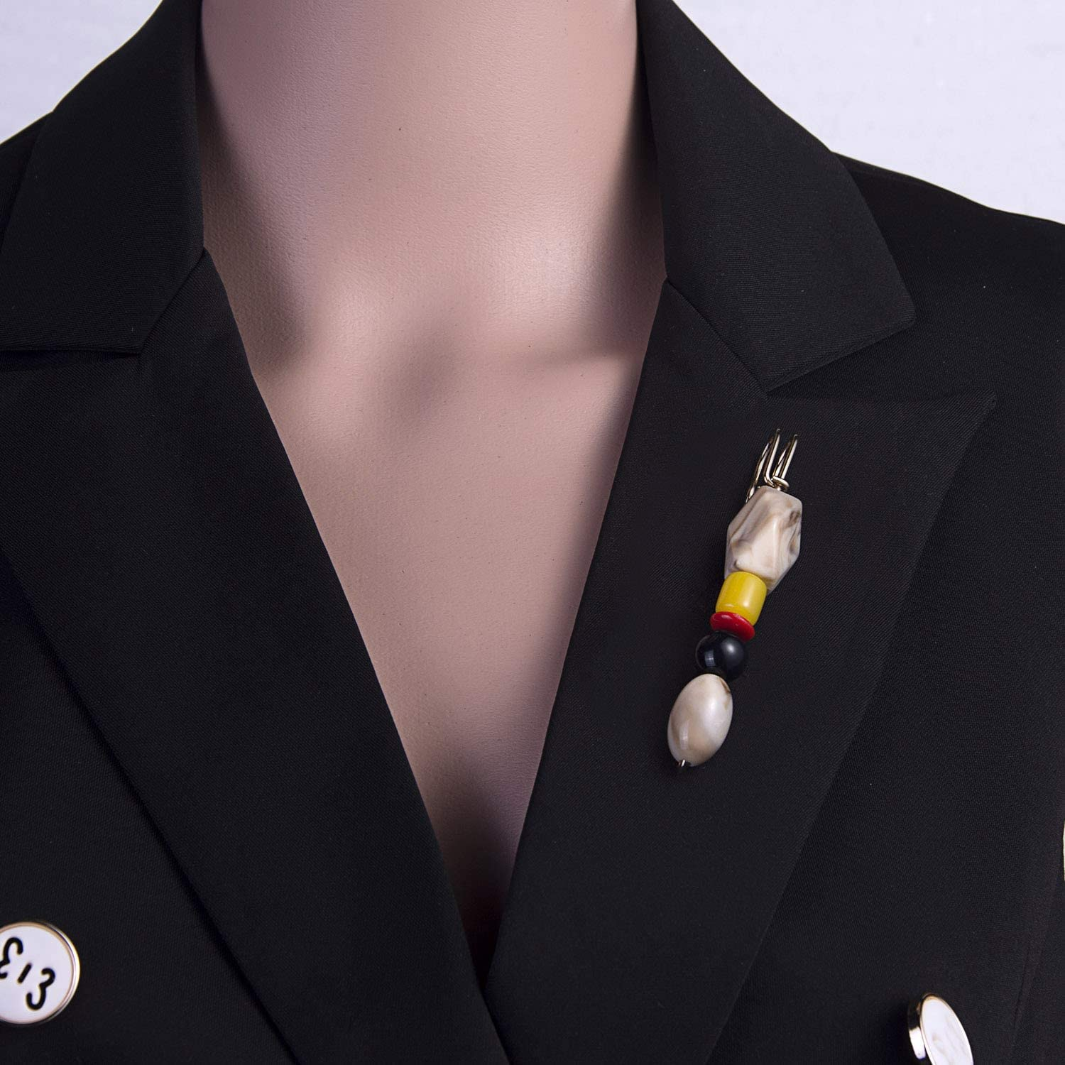 RINHOO FRIENDSHIP Pearl Crystal Brooches Pins Beads Safety Clips Coat Hat Shawl Silk Scarf Dress Sweater Knitted Jewelry for Women Girls