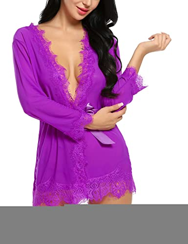 1bc0802a3d8 Kindsells Nightwear Dresses Sexy Bow-Knots Lace Lingerie Nightwear for Women  for Sex Teddy Babydoll Sexy Naughty Lingerie with Handcuffs Pajamas for  Girls ...