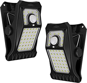 Tryme 45LEDs Solar Lights Outdoor, Clip on Motion Sensor Lights 3 Modes 3 Mounting Ways IP65 Waterproof Wireless Security Light for Fence, Deck, Wall, Garage, Patio (2 Pack)