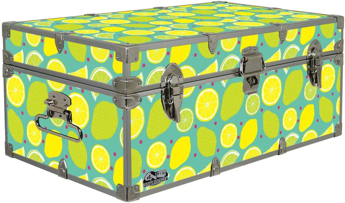 C&N Footlockers Designer Storage Trunk - Food Themes - 32 x 18 x 13.5 Inches - Durable and Built to Last - Lockable (Lemon Lime)