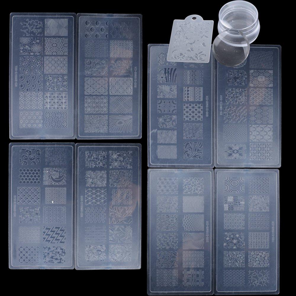 (10pcs)8pcs Nail Art Stamp Plate + 1 Stamper Scraper Plate + 1 Nail Art Polonais Grattoir Stamper Claire pour DIY Nail Art Design Manucure DEOMOR