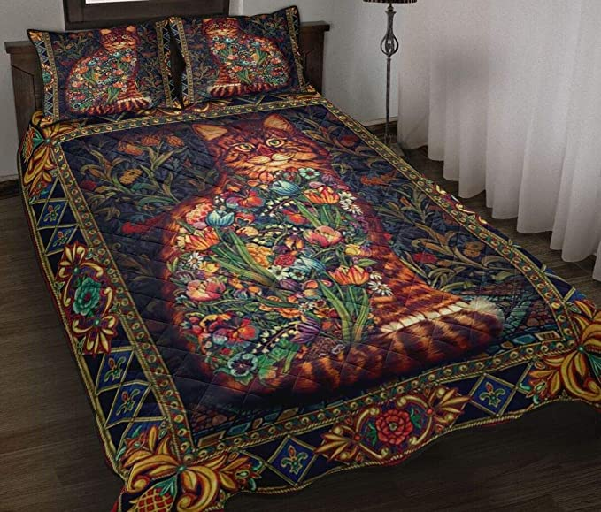 Amazon Com Ideas Gifts For Thanks Giving Christmas Quilt Cat Flowers Quilt Patterned Quilt King Queen Twin Throw Size All Season Comfortable Quilt For Thanksgiving Christmas Home Kitchen