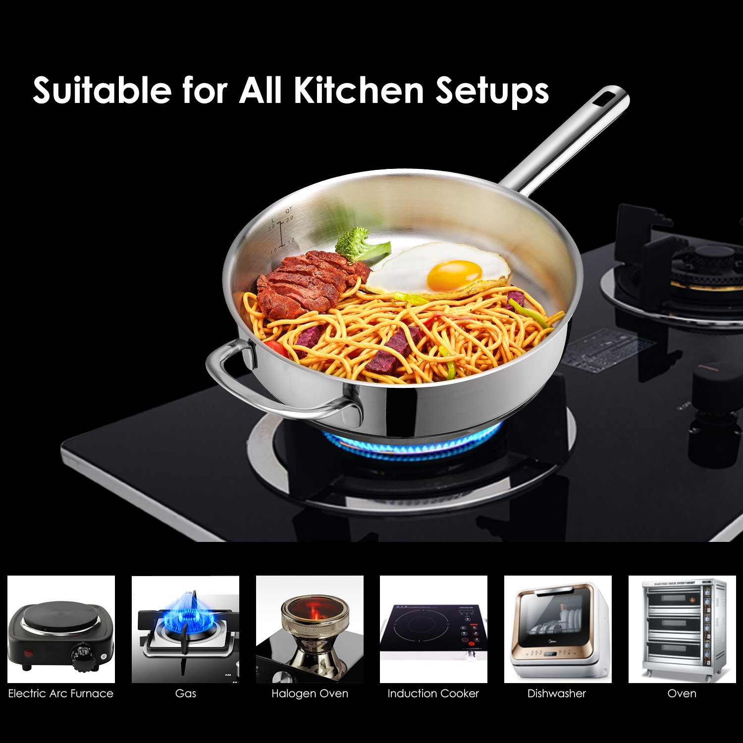 Deik Cookware Set, Kitchenware Set, MultiClad Pro Stainless Steel 12-Piece Pots and Pans Set, Rustproof & Oven-Safe Cooking Pots, PFOA Free & Riveted Handles with a Bonus of Oven Mitts by Deik (Image #5)