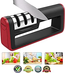 Kitchen Knife Sharpener, 3-Stage Knife Sharpening with Non-slip Handle Tool for Straight/Ceramic/Pocket/Fruit and Chef Knives Helps Repair Restore and Polish Blades