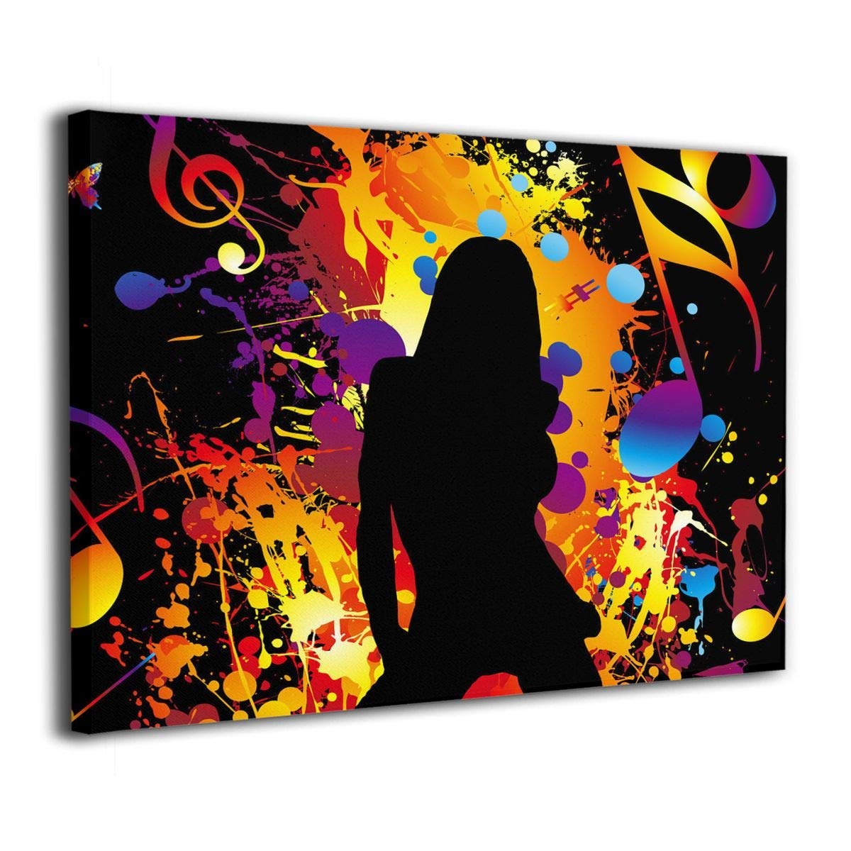 Amazon com janeither canvas wall art music note girl dance artistic