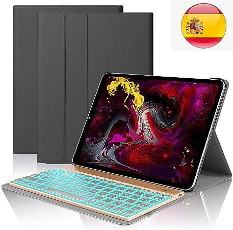 iPad Pro 11 Español Teclado Funda,Dingrich Bluetooth inalámbrico QWERTY Teclado Case Pare iPad Pro 11 2018