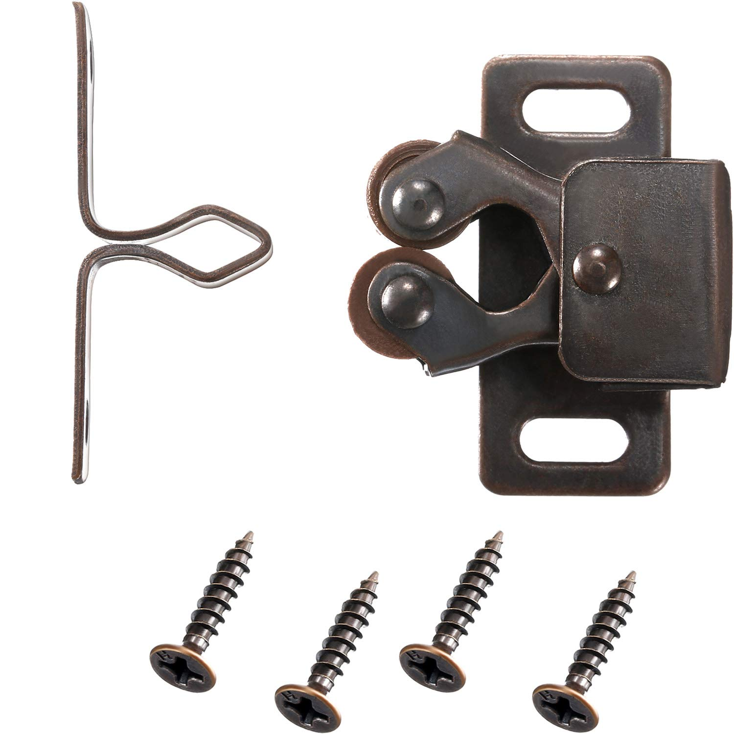 Gejoy 24 Pack Double Roller Catch for Closet Door and Cabinet Hardware Catch in Oil-Rubbed Bronze