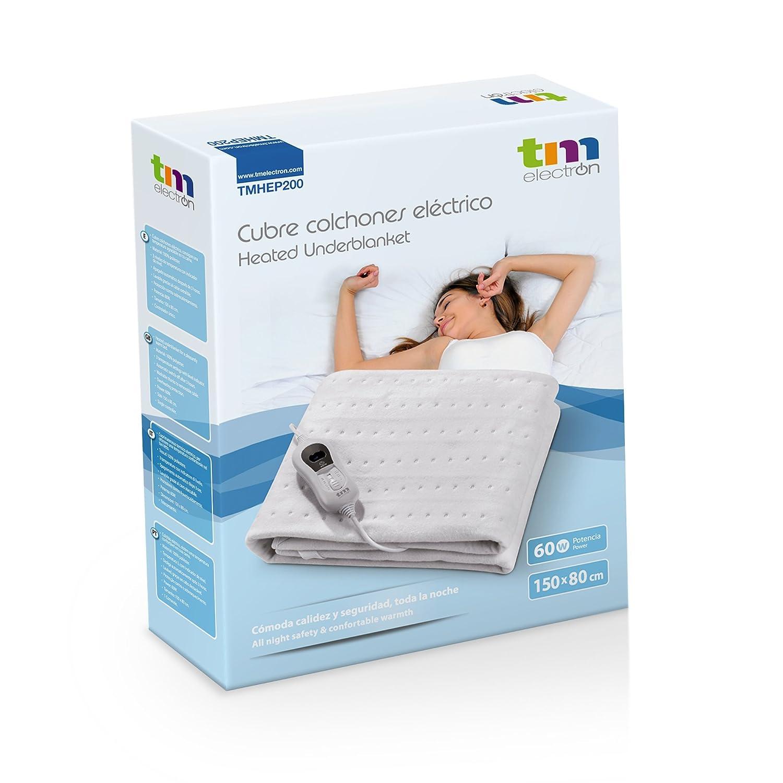 Cubre colchones calientacamas eléctrico para cama individual 60W con 3 niveles de temperatura y apagado automático. Tamaño 150x80cm: Amazon.es: Salud y ...