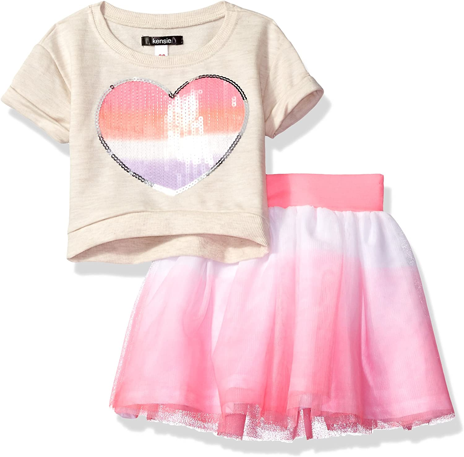 kensie Baby Girls 2 Piece French Terry Pullover and Tulle Skirt Set