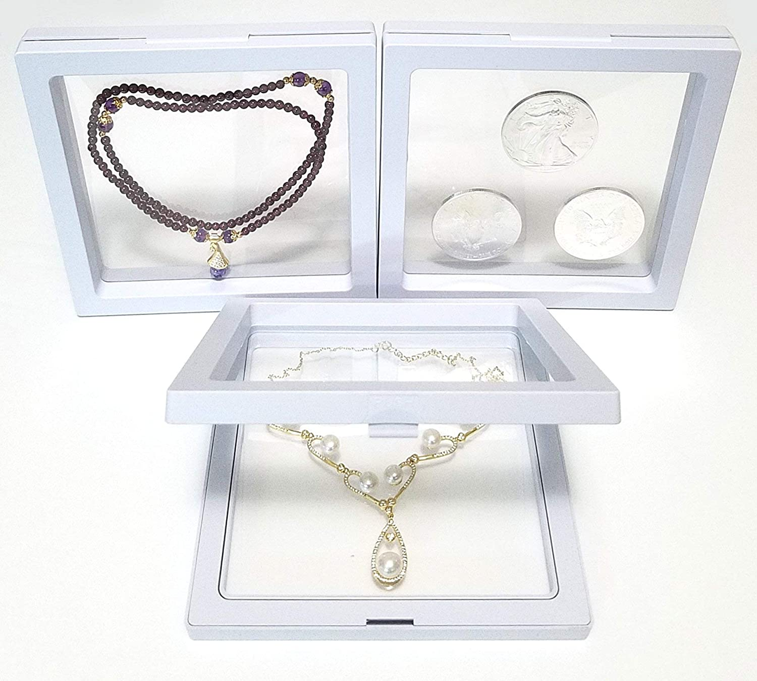 Jewelry Gift JM Large 5.5 x 5.5 x 0.75 Inches Transparent 3D Floating Frame Display Holder//Box//Frames for Challenge Coins Antique White AA Medallions