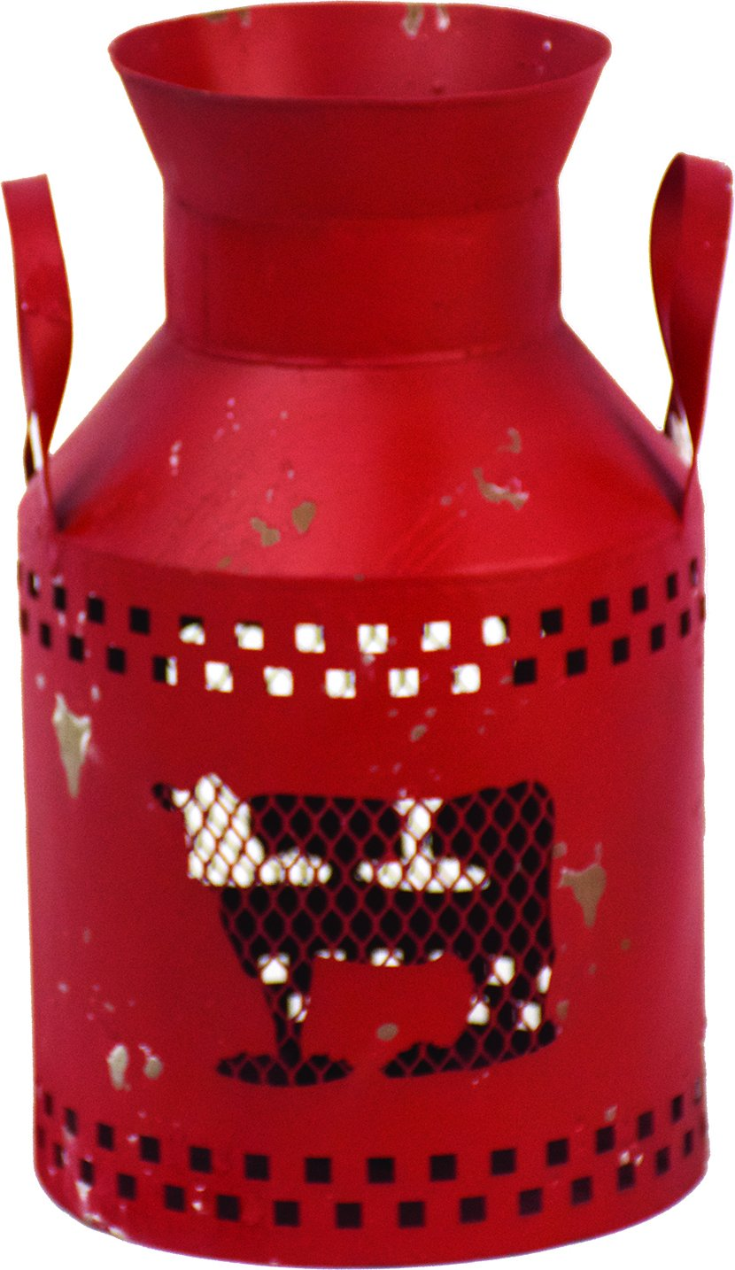 Harbor Gardens ZT171432 Essex Collection Red Distressed Vintage Cow Cut-Out Milk Can with Tea Light Holder