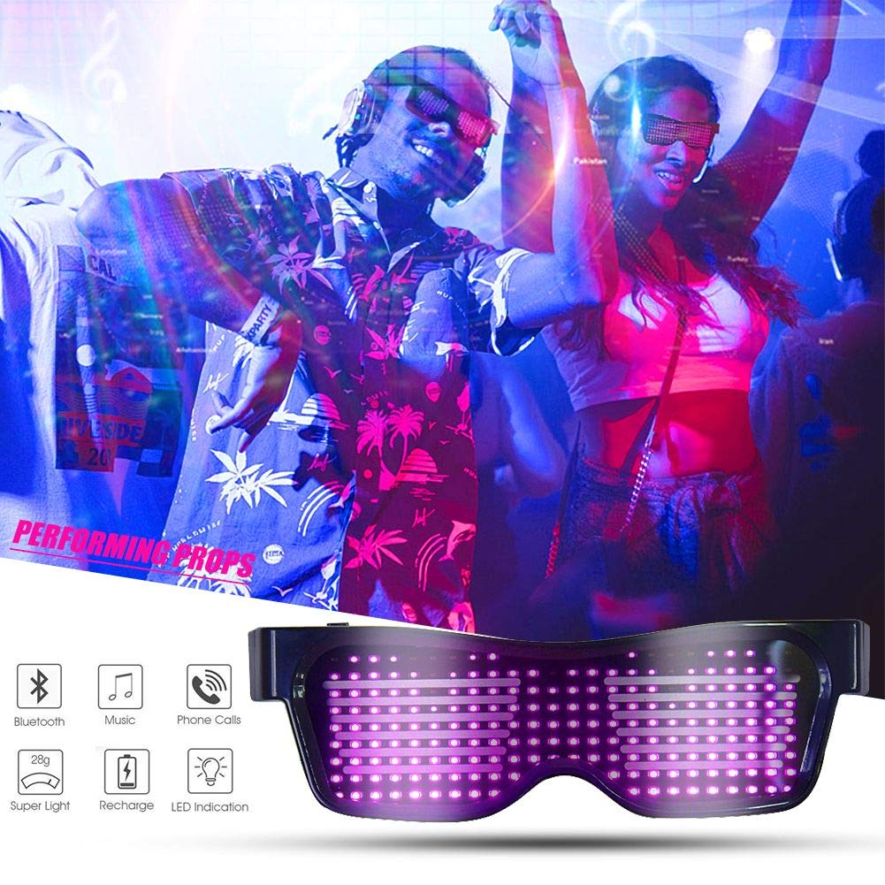Adults LED Bluetooth Flashing Glasses by APP Control DIY Luminous Emotions Sunglasses with Customizable for Music Festival Party Club Drink -USB Rechargeable,10 Modes,Green,Neon,Plastic,Kids green