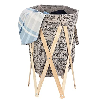 Azdent Collapsible Laundry Hamper Wood Frame Vintage Laundry Basket Laundry Bins Clothes Storage Bag With Handle Original Color