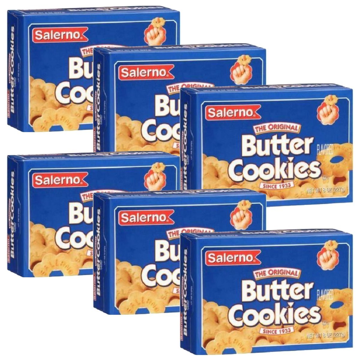 Salerno Cookies, The Original Butter Cookies, 8 Ounce(Pack of 6)