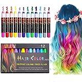 EZCO 12 Color Temporary Hair Chalk Pens Crayon Salon Washable Hair Color Dye Face Kit Safe for Makeup Birthday Party…