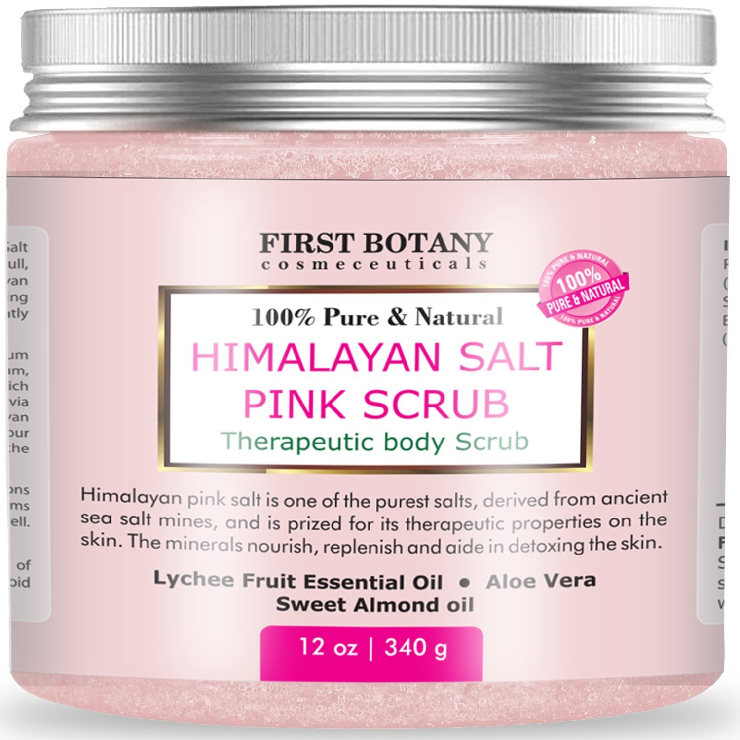 100% Natural Himalayan Salt Full Body Scrub 12 oz with Lychee Oil and Sweet Almond Oil- Best Body scrub, Deep Skin Exfoliator, Anti Cellulite, Body Wash, Moisturizer & Detox by First Botany Cosmeceuticals