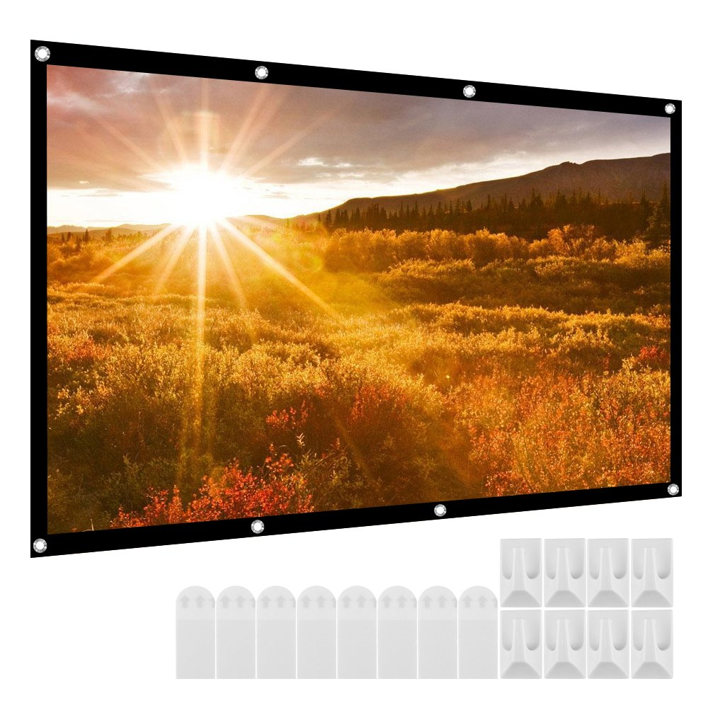Micsoa Portable Projector Screen 120 Inch 16:9 HD Folding Indoor Outdoor Movie Screen Gaming Office Home Cinema Projector Screen White by Micsoa