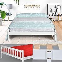 Cadre de lit en pin massif - Espace tiroir sous le lit - Blanc