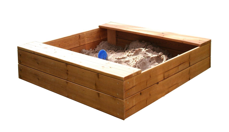 Garden Games 6412 - Quadratische Holzsandkasten mit Unterlage und Deckel, einfach zu montieren, 1.2 m