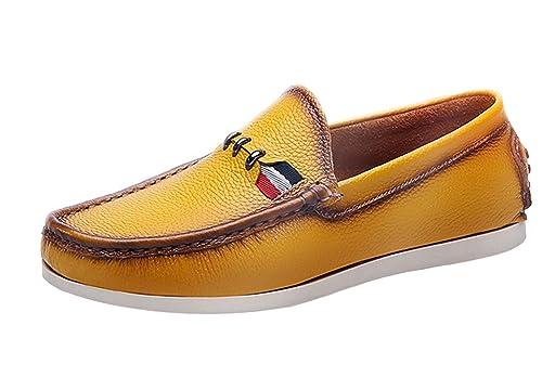 Icegrey Hombre Mocasines De Cuero De Los Hombres Mocasín con Cordones Zapatos De Bowling Zapatos Bajos Cordones: Amazon.es: Zapatos y complementos