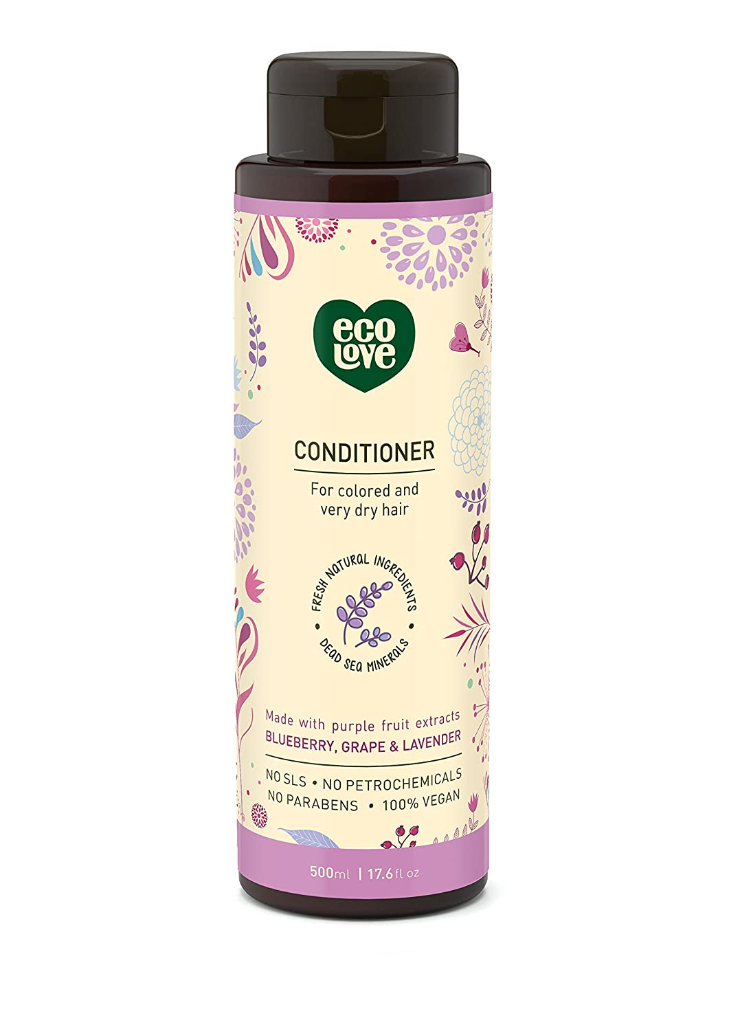 100% Vegan conditioner by ecoLove | 17.6 oz. | Organic blueberry, grape & lavender For colored and very dry hair